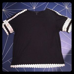 J Crew black shirt with white detailing S